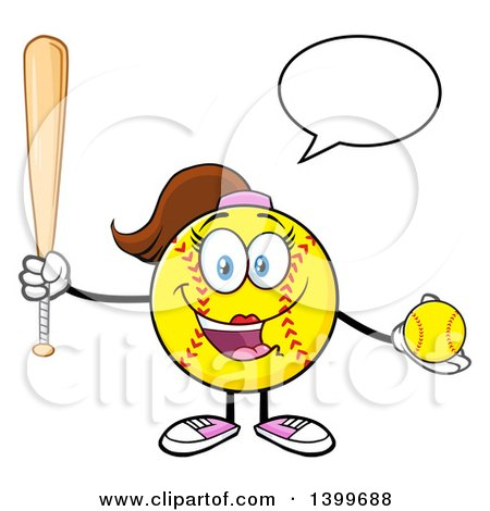 Clipart of a Cartoon Female Softball Character Mascot Talking, Holding a Bat and Ball - Royalty Free Vector Illustration by Hit Toon