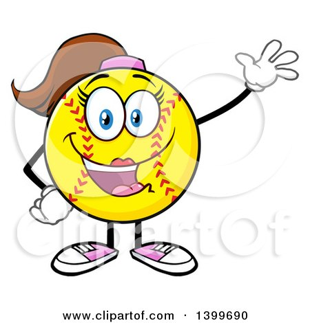 Clipart of a Cartoon Female Softball Character Mascot Waving - Royalty Free Vector Illustration by Hit Toon