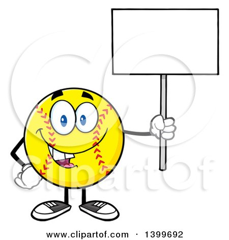 Clipart of a Cartoon Male Softball Character Mascot Holding up a Blank Sign - Royalty Free Vector Illustration by Hit Toon