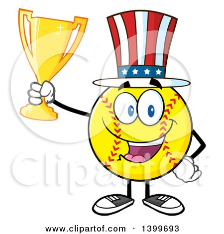 Clipart of a Cartoon Male Softball Character Mascot Wearing a Patriotic American Hat and Holding a Trophy - Royalty Free Vector Illustration by Hit Toon