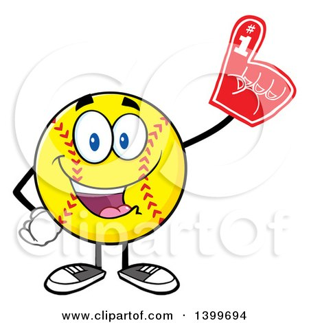 Clipart of a Cartoon Male Softball Character Mascot Wearing a Foam Finger - Royalty Free Vector Illustration by Hit Toon