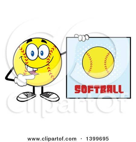 Clipart of a Cartoon Male Softball Character Mascot Pointing to a Sign - Royalty Free Vector Illustration by Hit Toon