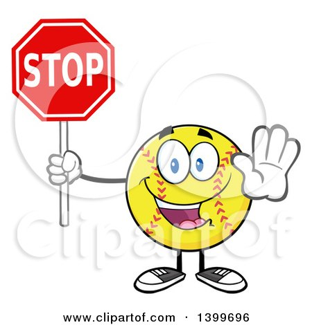 Clipart of a Cartoon Male Softball Character Mascot Holding a Stop Sign - Royalty Free Vector Illustration by Hit Toon