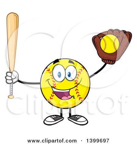 Clipart of a Cartoon Male Softball Character Mascot Holding a Bat and Ball in a Glove - Royalty Free Vector Illustration by Hit Toon