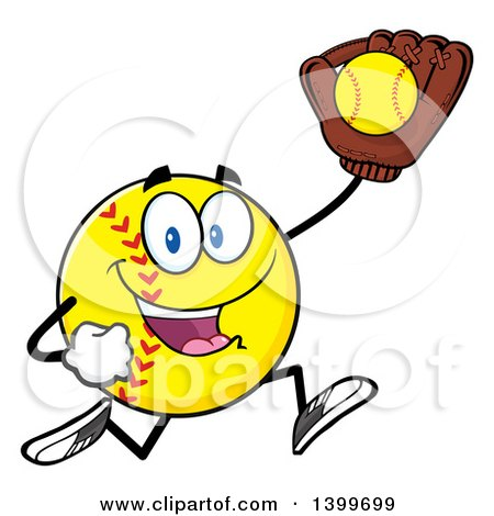 Clipart of a Cartoon Male Softball Character Mascot Running with a Ball in a Glove - Royalty Free Vector Illustration by Hit Toon