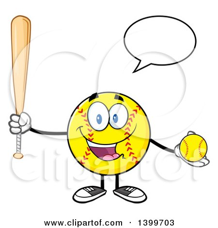 Clipart of a Cartoon Male Softball Character Mascot Talking, Holding a Bat and Ball - Royalty Free Vector Illustration by Hit Toon