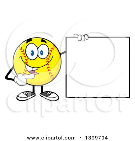 Clipart of a Cartoon Male Softball Character Mascot Pointing to a Blank Sign - Royalty Free Vector Illustration by Hit Toon