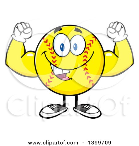 Clipart of a Cartoon Male Softball Character Mascot Flexing His Muscles - Royalty Free Vector Illustration by Hit Toon
