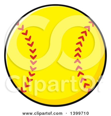 Clipart of a Cartoon Yellow Softball - Royalty Free Vector Illustration by Hit Toon