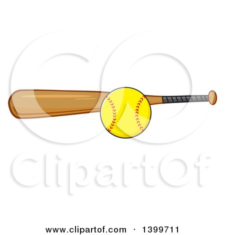 Clipart of a Cartoon Softball and Wooden Bat - Royalty Free Vector Illustration by Hit Toon