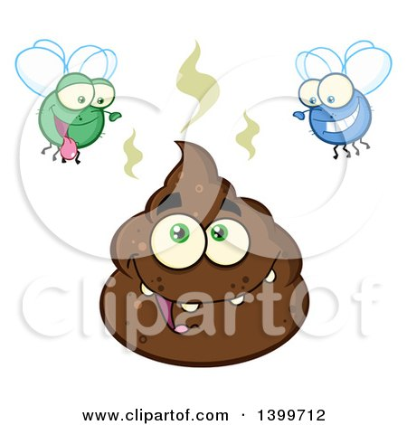 Clipart of a Cartoon Pile of Poop Character and Happy Flies - Royalty Free Vector Illustration by Hit Toon