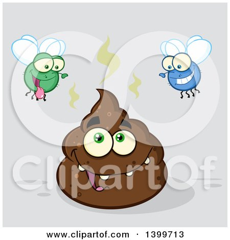 Clipart of a Cartoon Pile of Poop Character and Happy Flies, on Gray - Royalty Free Vector Illustration by Hit Toon