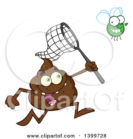 Clipart of a Cartoon Pile of Poop Character Chasing a Fly with a Net - Royalty Free Vector Illustration by Hit Toon