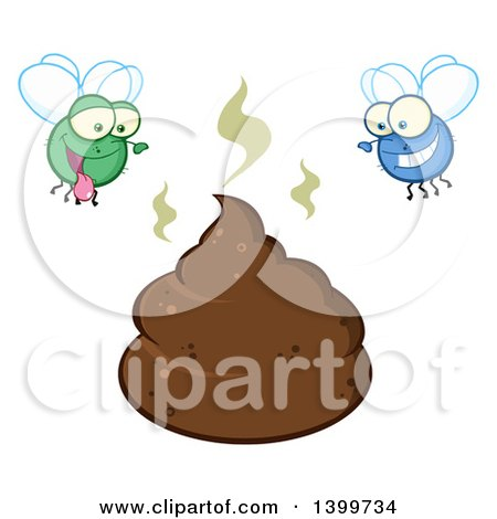 Clipart of a Cartoon Stinky Pile of Poop and Happy Flies - Royalty Free Vector Illustration by Hit Toon