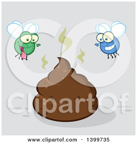 Clipart of a Cartoon Stinky Pile of Poop and Happy Flies, on Gray - Royalty Free Vector Illustration by Hit Toon