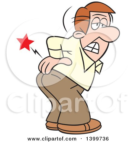 Clipart of a Cartoon Caucasian Business Man Bending over with an Aching Back - Royalty Free Vector Illustration by Johnny Sajem