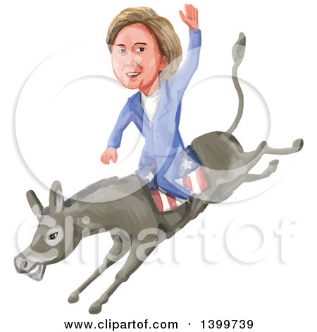 Clipart of a Watercolor Caricature of Hillary Clinton Riding a Democratic Donkey - Royalty Free Vector Illustration by patrimonio