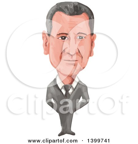 Clipart of a Watercolor Caricature of Syrian President Bashar Hafez Al-Assad - Royalty Free Vector Illustration by patrimonio