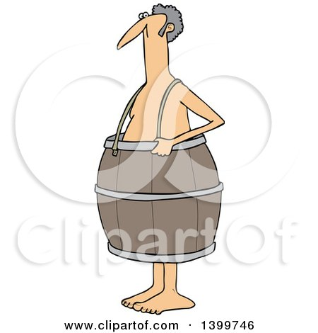 Clipart of a Cartoon Poor Nude White Man Wearing a Barrel - Royalty Free Vector Illustration by djart