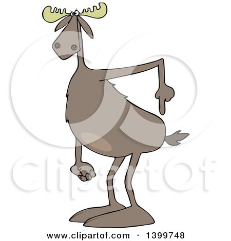 Clipart of a Cartoon Moose Pointing to His Butt - Royalty Free Vector Illustration by djart