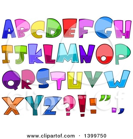 Clipart of Cartoon Colorful Capital Alphabet Letters and Punctuation - Royalty Free Vector Illustration by yayayoyo