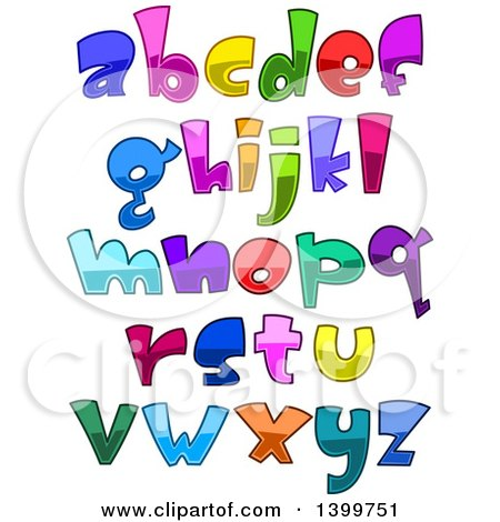 Clipart of Cartoon Colorful Lowercase Alphabet Letters and Punctuation - Royalty Free Vector Illustration by yayayoyo