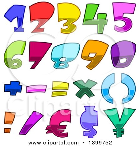 Clipart of Cartoon Colorful Numbers and Symbols - Royalty Free Vector Illustration by yayayoyo
