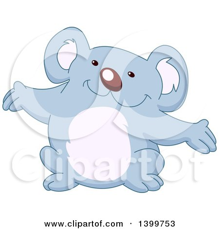 Clipart of a Cartoon Happy Welcoming or Presenting Koala - Royalty Free Vector Illustration by yayayoyo