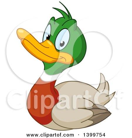 Clipart of a Cartoon Happy Mallard Drake Duck - Royalty Free Vector Illustration by yayayoyo