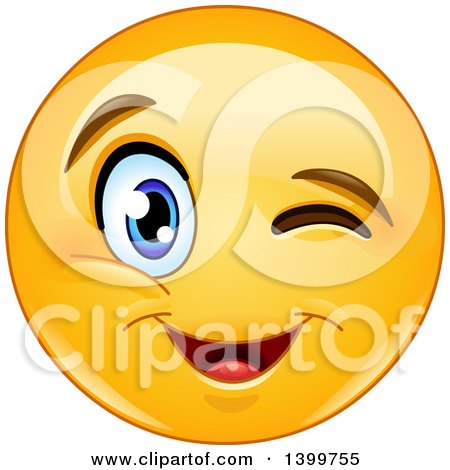 Clipart of a Cartoon Yellow Emoji Smiley Emoticon Face Winking - Royalty Free Vector Illustration by yayayoyo