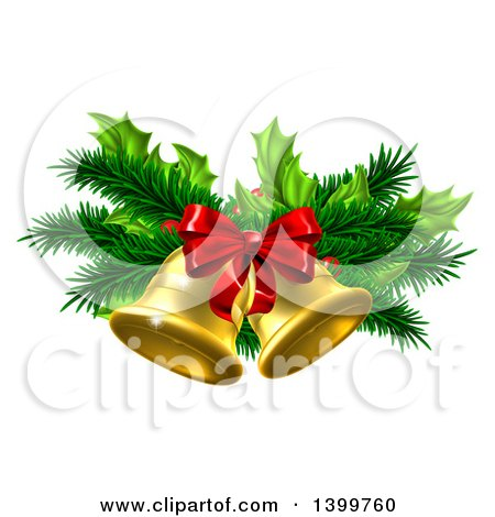 Clipart of 3d Gold Christmas Bells with Branches and a Red Bow - Royalty Free Vector Illustration by AtStockIllustration