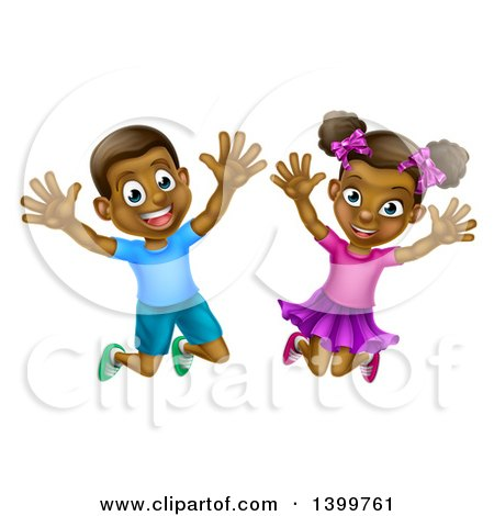 Clipart of a Happy and Excited Black Boy and Girl Jumping - Royalty Free Vector Illustration by AtStockIllustration