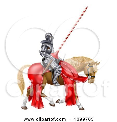 Clipart of a 3d Fully Armored Medieval Jousting Knight Holding a Lance on a Horse - Royalty Free Vector Illustration by AtStockIllustration