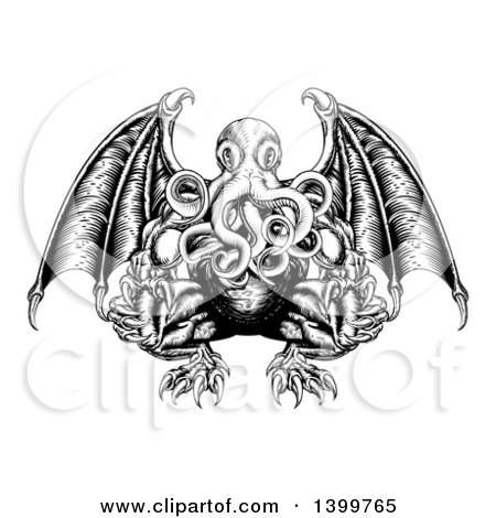 Clipart of a Black and White Woodblock Winged Octopus Cthulhu Monster - Royalty Free Vector Illustration by AtStockIllustration