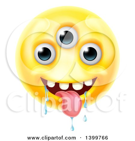 Clipart of a Yellow Drooling Alien Monster Emoji Emoticon Smiley - Royalty Free Vector Illustration by AtStockIllustration