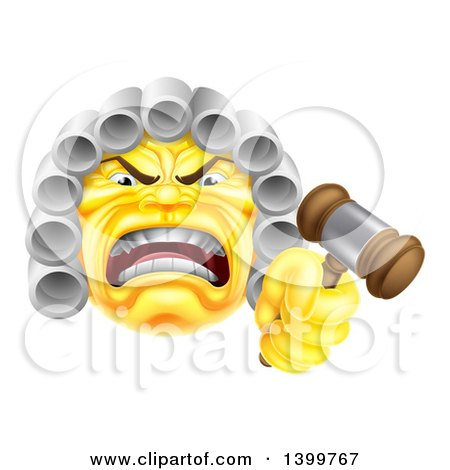Clipart of a Yellow Angry Judge Holding a Gavel Emoji Emoticon Smiley - Royalty Free Vector Illustration by AtStockIllustration