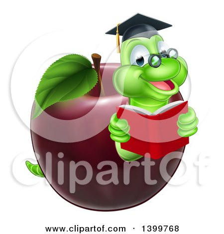Clipart of a Cartoon Happy Green Graduate Book Worm Reading in a Red Apple - Royalty Free Vector Illustration by AtStockIllustration