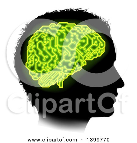 Clipart of a Black Silhouetted Male Head in Profile, with a Green Brain of Electrical Circuits in Neon Green - Royalty Free Vector Illustration by AtStockIllustration
