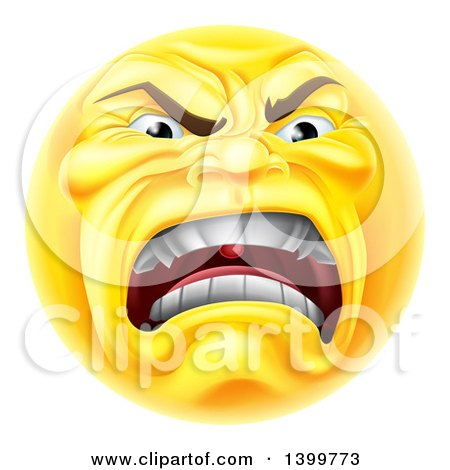 Clipart of a Yellow Angry Screaming Emoji Emoticon Smiley - Royalty Free Vector Illustration by AtStockIllustration