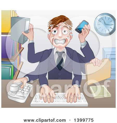 Clipart of a Cartoon Stressed Caucasian Business Man Multi Tasking with Many Arms at His Office Desk - Royalty Free Vector Illustration by AtStockIllustration