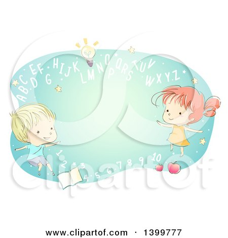 Clipart of a Sketched School Boy and Girl with Abc Letters and Numbers - Royalty Free Vector Illustration by BNP Design Studio