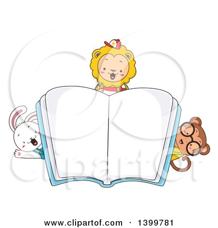 Clipart of Cute Animal Students Peeking Around an Open Book - Royalty Free Vector Illustration by BNP Design Studio