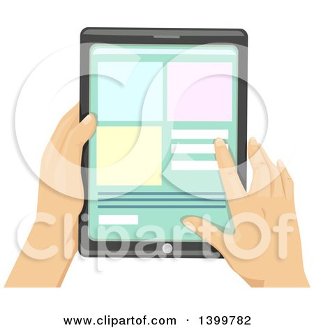 Clipart of Hands of a Man Using a Touch Screen Tablet Computer - Royalty Free Vector Illustration by BNP Design Studio