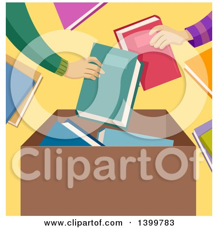 Clipart of Hands Putting Donated Books in a Box - Royalty Free Vector Illustration by BNP Design Studio