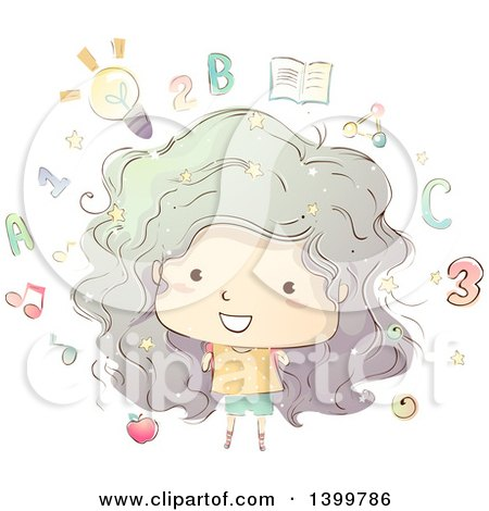 Clipart of a Sketched Girl with Educational Icons - Royalty Free Vector Illustration by BNP Design Studio