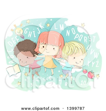 Clipart of a Sketched Group of School Children with Letters and Numbers - Royalty Free Vector Illustration by BNP Design Studio
