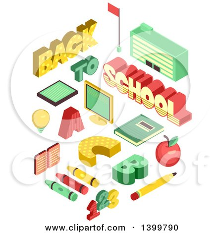 Clipart of School Supplies - Royalty Free Vector Illustration by BNP Design Studio
