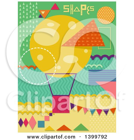 Clipart of a Patterned Hot Air Balloon and Shapes - Royalty Free Vector Illustration by BNP Design Studio