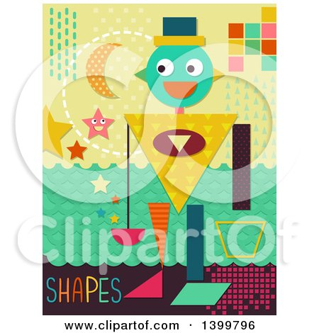 Clipart of a Patterned Robot with Shapes - Royalty Free Vector Illustration by BNP Design Studio