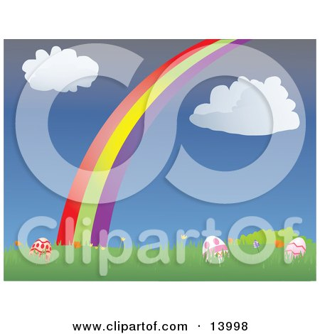 Colorful Easter Eggs Resting in Grass With Spring Flowers Under a Colorful Rainbow and Puffy White Clouds in a Blue Sky Posters, Art Prints